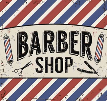 a barber shop style graphic using the iconic red and blue colours